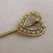 Sweetest Delicate 14K Stick Pin Heart Seed Pearls Signed Hatpin