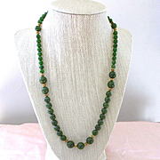 Handsome Jade Graduated Necklace Gold Washed Sterling Findings