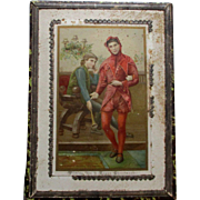 Victorian Christmas Candy Box With Jester and His Doll