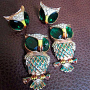 Duette Coro Sterling Owl Fur Clip Matching Earrings
