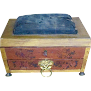 Sarchophagus Shaped School Girl Decorated Sewing Box 19c