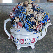 Doris Stauble Silk Dried Flower Arrangement In Tea Pot Queen's Rose