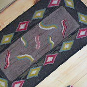 Primitive Geometric Hand Hooked Rug