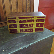 Wonderful Old Doll Trunk In Old Red and Mustard Paint