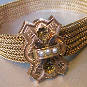 Lovely Victorian Gold Filled Mesh Tasseled Bracelet with Large Slide 3 Seed Pearls