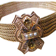 Lovely Victorian Gold Filled Mesh Tasseled Bracelet with Large Slide 3 Seed Pearls
