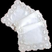 Lovely Teneriffe Lace White Linen Runner