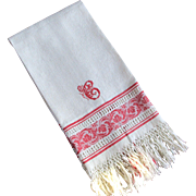 Damask Large Linen Towel C Monogram Berries