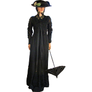 Victorian/Edwardian Exquisite Mourning Dress and Parasol