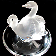 Lalique Crystal Pin Ring Dish Deux Cygne