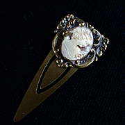 Vintage Brass Cameo Book Mark