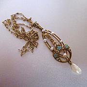 Edwardian Krementz Lavelier 14K Enameled  Pearls 14K Chain