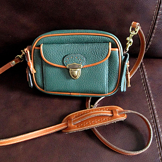 "Dooney Bourke 1980's Small ""Kilty"" Green and Tan Shoulder Bag"