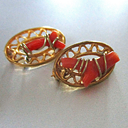 Set Victorian Coral Gilt Tiny Pins For Lapel or Doll
