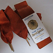 Edwardian New Old Stock French Silk Shoelaces Aglets Paris Au Printemps