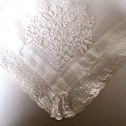 Lovely Embroidered Dainty Wedding Hanky Point Esprit