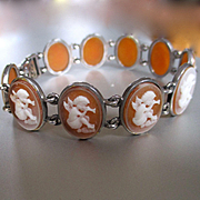 Darling Deco Era Shell Cameo Cherubs Playing Flutes Bracelet