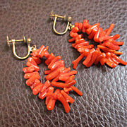 "Chunky Branch Coral 2"" Long Loop Earrings"