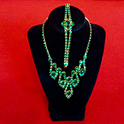 Glam Green Statement Paste Rhinestone Necklace Demi Parure For Holidays