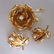 Boucher Gold Plated Roses Cultured Pearls Demi Parure