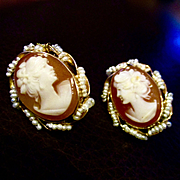 Stunning 14K Pearls  Cameo Pierced Earrings Italy 2 Different  Faces
