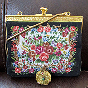 Vintage Petit Point Tapestry Purse With French Perfume Bottle