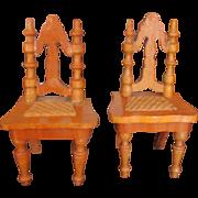 Schneegas German  Golden Oak Chairs Set Circa late 1800's