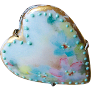 Lovely Limoges Hand Painted Heart Hat Pin