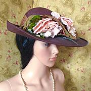Fabulous 50's Vera Whistler Brim Hat Roses Ombre Ribbon