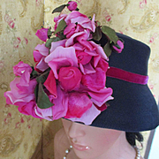 Darling Leslie James 50's Cloche Velvet Silk Roses