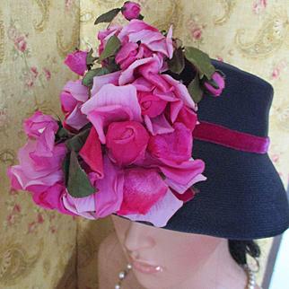 Darling Leslie James 50's Cloche Velvet Silk Roses