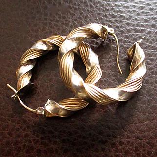 Vintage 14K Sterling Rope Pierced Hoops Signed