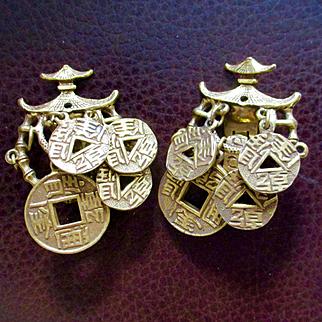 50's Gold Tone Pagoda Earrings By Art Mode