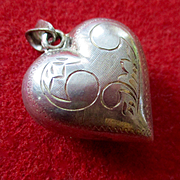 Deco Sterling Super Puffy Cleaved Heart Chased Pendant With Chain