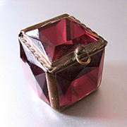 Signed Pink Faceted Glass Ring Box