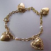Vintage 12 K Gold Filled Puffy Heart Bracelet Pearls