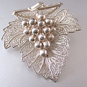 Large Sterling Filigree Leaf Dangling Grapes