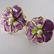 Coro Pansy Enamel Earrings