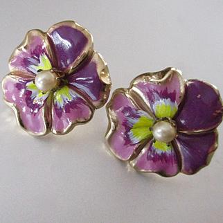 Coro Pansy Enamel Earrings