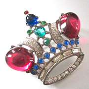 TRIFARI Alfred Philippe Ruby Large King Crown Brooch Sterling Ruby, Sapphire, Emerald Diamante