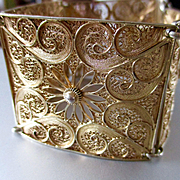 Sterling Vermeil Wide Filigree Daisies Paisleys Marked