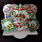 Victorian German Die Cut Pop Up Valentine Card Cherub Pansies