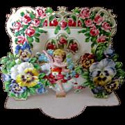 Victorian German Die Cut Pop Up Valentine Card Cherub Pansies