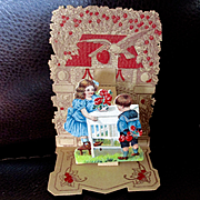 German Pop Up Die Cut Valentine Card Girl Boy
