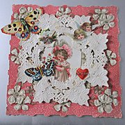 Antique Paper Lace Valentine Card Darling Girl Cherubs Butterflies