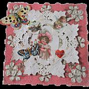 Antique Paper Lace Valentine Card Darling Girl Cherubs Butterflies