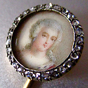 Victorian 14K Rose Cut Diamonds Stick/Hat Pin Hand Painted Beautiful Woman