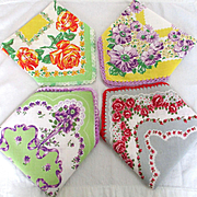 4 Adorable Floral Vintage Hankies Crocheted Borders