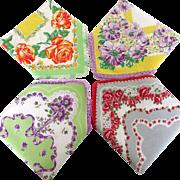 4 Adorable Floral Vintage Hankies Crocheted Borders