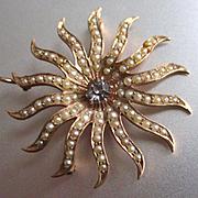 Victorian Starburst 14 Rays 12K Seed Pearl Brooch Pendant